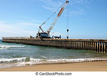 constuction, de, nuevo, concreto, muelle, en, playa