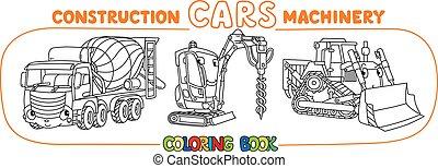 constuction, rigolote, set., coloration, voitures, livre