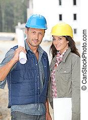 constuction, site, ingénieurs