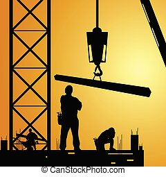 constuction, trabalhador, no trabalho, com, guindaste,...
