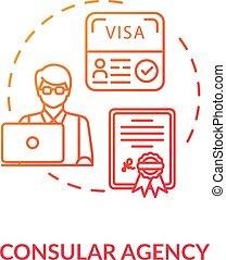 Consular agency concept icon. Tourist visa application. ...