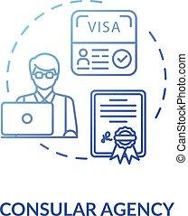 Consular agency concept icon. Visa application. Diplomatic ...