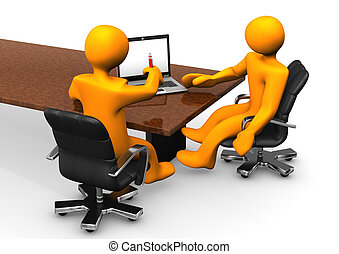 Consulating With Notebook - Consultant consults the client...