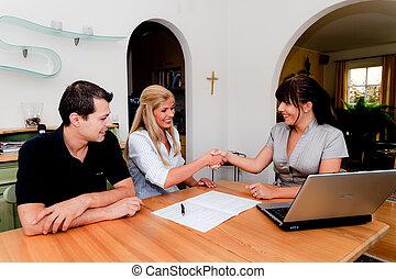 consulente, appartamento, contratto, firma