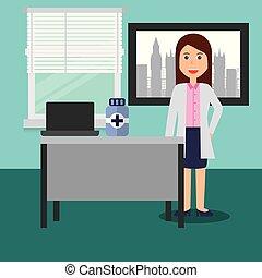 consultório médico, doutor, garrafa, laptop, femininas, escrivaninha, medicina