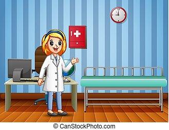 consulta, caricatura, mulher, sala, doutor