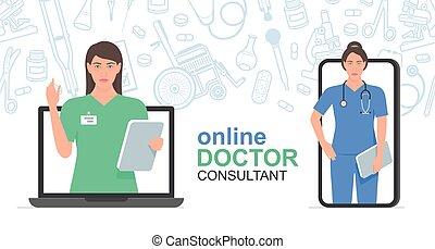 consulta, doctor, en línea