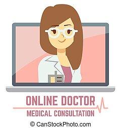 consulta, en línea, diseño, concepto, doctor, mujer