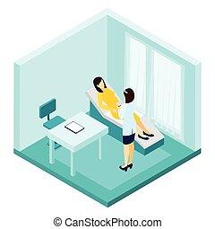 consulta, ilustración, embarazo
