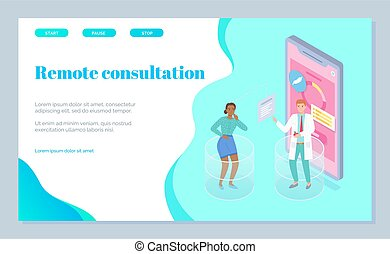 consulta, online., gastroenterologist, sitio, plano, aterrizaje, vector, página, médico, imagen