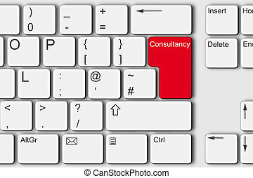 Consultancy concept PC computer keyboard illustration red