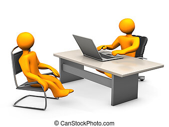 Consultant and Client - Consultant with laptop and client an...