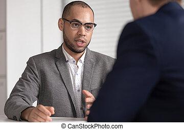 consultant, complet, courtier, client, avocat, africaine, sérieux, assurance, banque