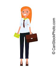 Consultant Elegant Business Woman Pretty Red Girl -...