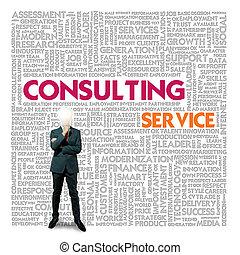 consultant, mot, finance, service, concept, business, nuage