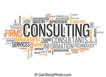 consultant, mot, nuage