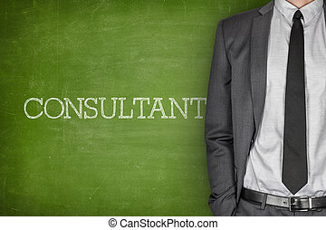 Consultant on blackboard with businessman in a suit on side