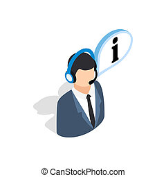 Consultant on phone icon, isometric 3d style