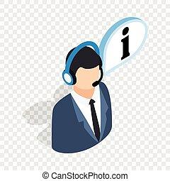 Consultant on phone isometric icon