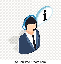 Consultant on phone isometric icon