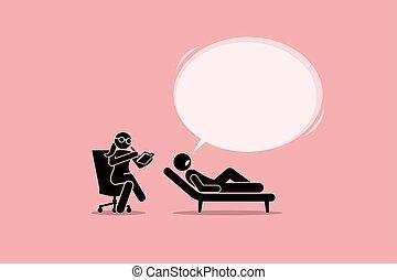 consultant, patient, mental, problem., psychologue, écoute, émotif