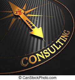 consultant, sur, doré, compass.