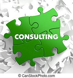 consultant, sur, vert, puzzle.