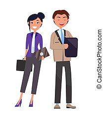 consultants, discuter, problèmes financiers, business
