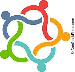 consultants, vecteur, collaboration, bouclé, illustration