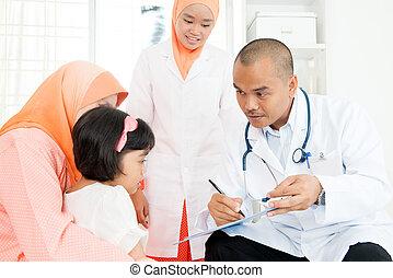 consultar, crianças, doutor