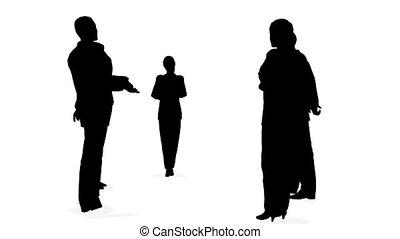 consultatie, silhouette, mensen