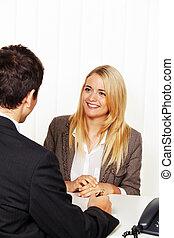 consultation., beratungsgespräch, und, diskussion, per, ber