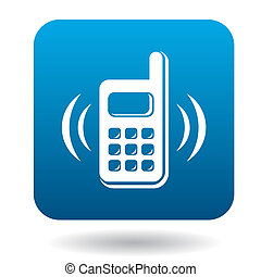 Consultation by phone icon, flat style