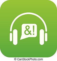 Consultation by phone icon green vector