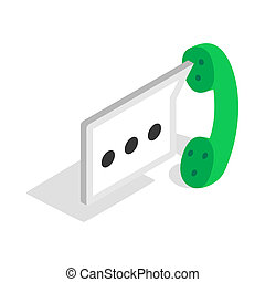 Consultation by phone icon, isometric 3d style