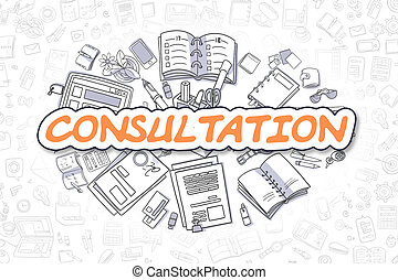 Consultation - Cartoon Orange Inscription. Business Concept.