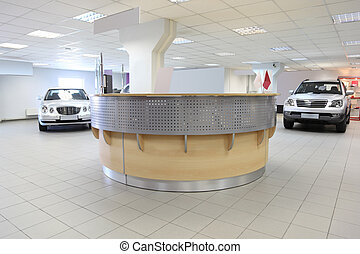 consultation chamber for automobile buyers, reception hall with white walls