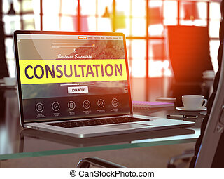 Consultation Concept on Laptop Screen.