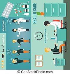 consultation., docteur médical, patient, conversation, médicament, room.