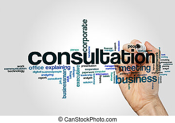 consultation, mot, nuage, concept, sur, gris, fond