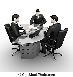 Consultation of table - On 3d image render thee businessmans...