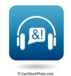 Consultation online by phone icon, flat style
