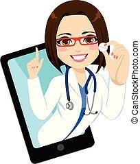 Consultation Online Prescription - Young doctor woman online...