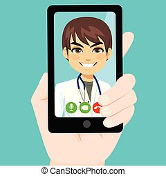 Consultation Online Smartphone - Close up illustration of...