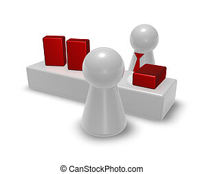 consultation - play figures in store - seller and customer...