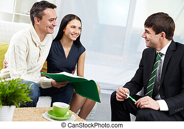 Consultation - Portrait of modern couple and real estate ...