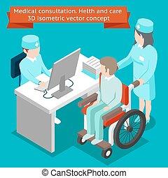 consultation., vettore, cura, medico, 3d, salute, isometrico...