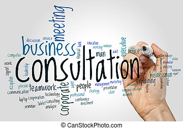 Consultation word cloud concept on grey background