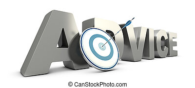 Word advice in 3D with a blue target and a arrow hitting the center. Consulting concept