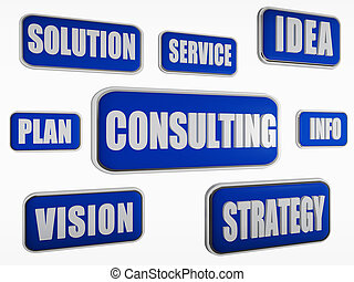 consulting - text in 3d blue banners with business concept words